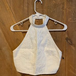 Forever 21 White Crop Top with pattern Detail